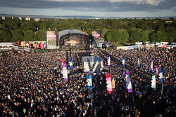© Licensed to London News Pictures . 08/06/2014 . Heaton Park , Manchester , UK . Large crowds in front of the Main Stage for Bastille .  The Parklife music festival in Heaton Park Manchester as the sun comes out . Photo credit : Joel Goodman/LNP
