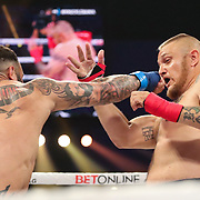 TAMPA, FL - FEBRUARY 05: Dillon Cleckler knocks out Chris Jensen during the BKFC KnuckleMania event at RP Funding Center on February 5, 2021 in Tampa, Florida. (Photo by Alex Menendez/Getty Images) *** Local Caption *** Dillon Cleckler; Chris Jensen