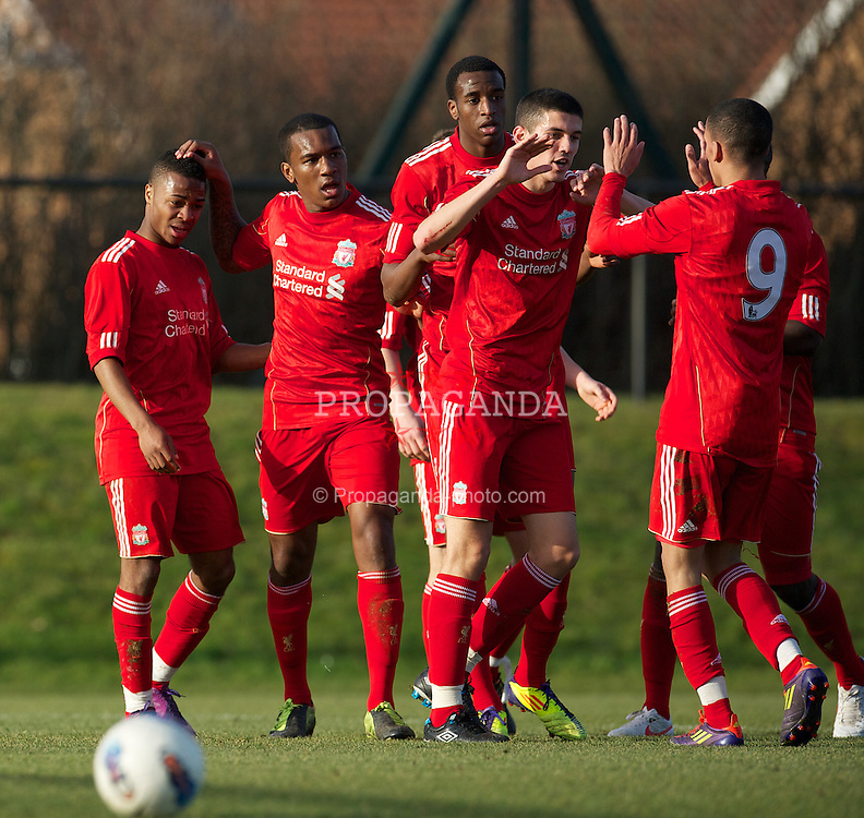KIRKBY, ENGLAND - Tuesday, February 21, 2012: Liverpool's Raheem Sterling celebrates scoring the first goal against Everton during the FA Premier Reserve League match at the Kirkby Academy. (Pic by David Rawcliffe/Propaganda)