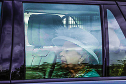 © Licensed to London News Pictures. 11/05/2021. London, UK. Britain's Queen Elizabeth II leaves Buckingham Palace in Central London by car to attend the State Opening of Parliament at the Palace of Westminster. Photo credit: Marcin Nowak/LNP