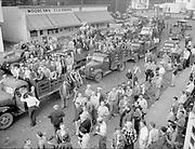 Y-480601-05 Vanport Flood relief workers and victims assemble on NE Durham near 8th & Dekum. June 1, 1948. Woodlawn Cleaners 6808 NE Durham.