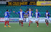 CELE - Carlisle United's Courtney Meppen-Walters celebrates scoring the opening goal <br /> <br /> Photographer Ashley Crowden/CameraSport<br /> <br /> Football - The Football League Sky Bet League Two - Newport County AFC v Carlisle United - Saturday 3rd January 2015 - Rodney Parade - Newport<br /> <br /> © CameraSport - 43 Linden Ave. Countesthorpe. Leicester. England. LE8 5PG - Tel: +44 (0) 116 277 4147 - admin@camerasport.com - www.camerasport.com