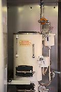 Hot Water Boiler on-Board the BAM (Baikal-Amur Mainline) Railway Line. Siberia. Russia
