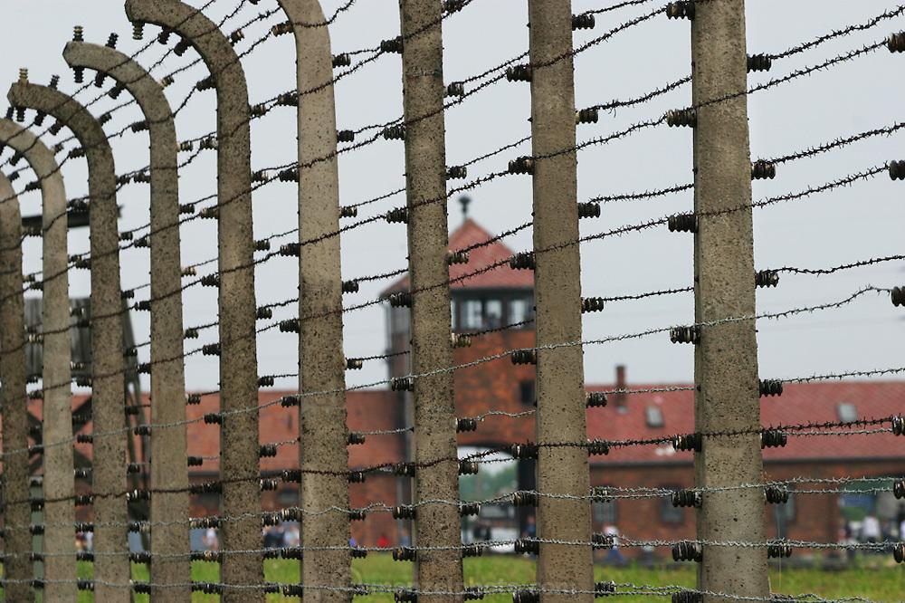 Barb wire fence at Birkenau Death Camp, Poland.