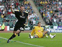 Photo: Lee Earle.<br /> Plymouth Argyle v Cardiff City. Coca Cola Championship. 15/09/2007. Cardiff's Steve Thompson celebrates after scoring their second goal.