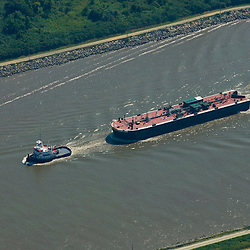Aerial view of Transamerican's Transpine vessel traveling outside of the Chesapeake Bay, Mayland