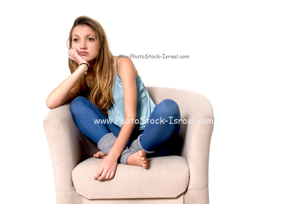 bored teen On white Background