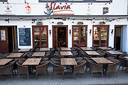 Coronavirus / Covid 19 outbreak, April 7th. 2020. Empty tables of a restaurant at the Frankenwerft in the old town, Cologne, Germany<br /> <br /> Coronavirus / Covid 19 Krise, 7. April 2020. Leere Tische eines Restaurants an der Frankenwerft in der Altstadt,  Koeln, Deutschland.