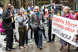 © Licensed to London News Pictures. 12/07/2016. London, UK. DENNIS SKINNER MP arrives at Labour HQ for a National Executive Committee meeting to decide if the Labour leader is automatically included in the ballot. Photo credit : Tom Nicholson/LNP