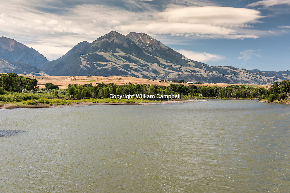 World class blue ribbon trout fishing on the Yellowstone River downstream from Emigrant Peak and Emigrant Gulch (in background).