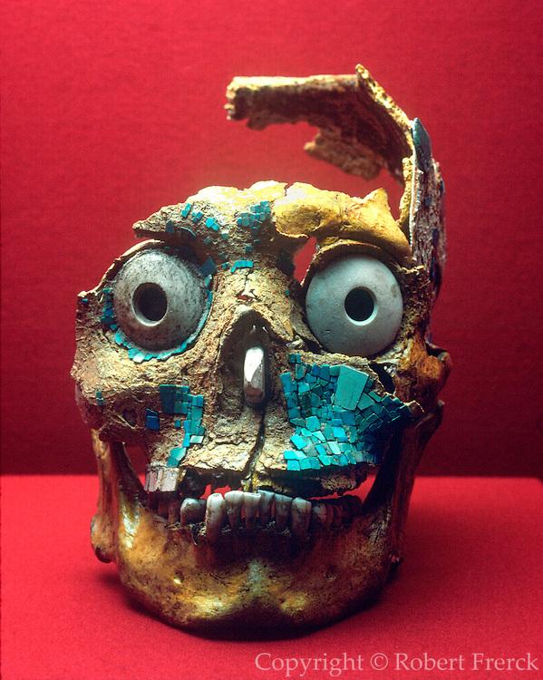 MEXICO, MEXICO CITY MUSEUM Mixtec; inlaid human skull