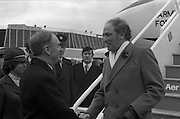 Canadian Prime Minister, Pierre Trudeau arrives in Dublin    (J17).14.03.1975.03.14.1975.3rd April 1975..Pierre Trudeau arrived today for a brief visit to Ireland. He was greeted by the Taoiseach Mr. Liam Cosgrave on his arrival at Dublin Airport..Photograph of Canadian Prime Minister as he shakes hands with Irish Taoiseach Liam Cosgrave on his arrival at Dublin Airport.