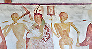 """The Church of San Vigilio in Pinzolo and its fresco paintings """"Dance of Death"""" painted by Simone Baschenis of Averaria in1539, Pinzolo, Trentino, Italy,<br /> <br /> An archbishop pierced with an arrow from the skeletons that are either side of him and represent dead. .<br /> <br /> Visit our MEDIEVAL ART PHOTO COLLECTIONS for more   photos  to download or buy as prints https://funkystock.photoshelter.com/gallery-collection/Medieval-Middle-Ages-Art-Artefacts-Antiquities-Pictures-Images-of/C0000YpKXiAHnG2k<br /> If you prefer to buy from our ALAMY PHOTO LIBRARY  Collection visit : https://www.alamy.com/portfolio/paul-williams-funkystock/san-vigilio-pinzolo-dance-of-death.html"""