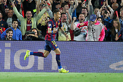 06.05.2015, Camp Nou, Barcelona, ESP, UEFA CL, FC Barcelona vs FC Bayern Muenchen, Halbfinale, Hinspiel, im Bild Torjubel von Neymar #11 (FC Barcelona) zum 3:0 // during the UEFA Champions League semi finals 1st Leg match between FC Barcelona and FC Bayern Munich at the Camp Nou in Barcelona, Spain on 2015/05/06. EXPA Pictures © 2015, PhotoCredit: EXPA/ Eibner-Pressefoto/ Kolbert<br /> <br /> *****ATTENTION - OUT of GER*****