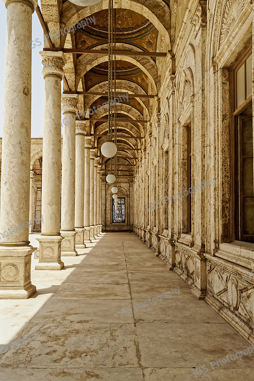 A general view of one of the arcades surrounding  the open courtyard  of the Mosque of Muhammad Ali at the Citadel in Islamic Cairo