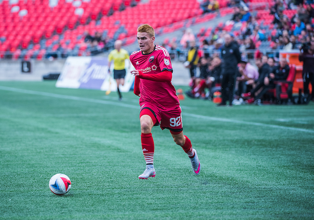 Ottawa Fury FC forward Giuseppe Gentile (#92) during the NASL match between the Ottawa Fury FC and Puerto Rico FC at TD Place Stadium in Ottawa, ON. Canada on Oct. 2, 2016.<br /> <br /> PHOTO: Steve Kingsman/Freestyle Photography