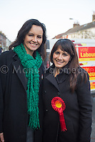 @Licensed to London News Pictures 20/11/2014. Strood, Kent, UK. Rt Hon Caroline Flint Labour MP for Don Valley and Labour candidate Naushabah Khan representing the  Rochester and Strood by-election in Kent today. Photo credit: Manu Palomeque/LNP