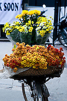 Baskets of colourful flowers on the back of bikes are a common sight in Hanoi's old quarter.