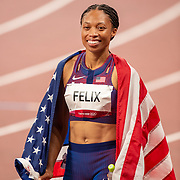 TOKYO, JAPAN August 6:   Allyson Felix of the United States after winning the bronze medal in the 400m for women making her the most decorated female olympic runner during the Track and Field competition at the Olympic Stadium  at the Tokyo 2020 Summer Olympic Games on August 6th, 2021 in Tokyo, Japan. (Photo by Tim Clayton/Corbis via Getty Images)
