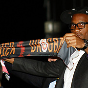 Ivory Coast and former Chelsea striker Didier Drogba rects to cheering Turkish soccer fans upon his arrival at the Ataturk Airport in Istanbul, Turkey, Friday, February 8, 2013. Drogba, 34, has signed a one-and-a-half year contract with Turkey's Galatasaray. Photo by TURKPIX