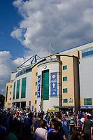 Fans gather outside Stamford Bridge, home of Chelsea<br /> <br /> Photographer Craig Mercer/CameraSport<br /> <br /> Football - Barclays Premiership - Chelsea v Swansea City - Saturday 8th August 2015 - Stamford Bridge - London<br /> <br /> © CameraSport - 43 Linden Ave. Countesthorpe. Leicester. England. LE8 5PG - Tel: +44 (0) 116 277 4147 - admin@camerasport.com - www.camerasport.com