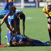 ORLANDO, FL - OCTOBER 25: Marta #10 of Brazil lies on the field after a hard foul during a women's international friendly soccer match between Brazil and the United States at the Orlando Citrus Bowl on October 25, 2015 in Orlando, Florida. (Photo by Alex Menendez/Getty Images) *** Local Caption *** Marta