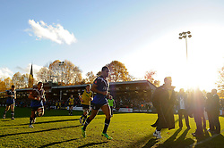 Bath Winger (#14) Olly Woodburn leaves the field at the end of the first half of the match - Photo mandatory by-line: Rogan Thomson/JMP - Tel: Mobile: 07966 386802 09/11/2012 - SPORT - RUGBY - The Recreation Ground - Bath. Bath v Newport Gwent Dragons  - LV= Cup