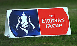 The Emirates FA Cup branding is displayed on the pitch before kick off  - Mandatory by-line: Nizaam Jones/JMP - 06/02/2018 - FOOTBALL - Liberty Stadium - Swansea, Wales - Swansea City v Notts County - Emirates FA Cup fourth round proper