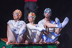 © London News Pictures. 16/12/2014. Peut-etre Theatre's The Tin Soldier, at the Roundhouse, London. Featuring Maya Politaki, Emily Nicholl & Sam Alty. Photo credit: Tony Nandi/London News Pictures