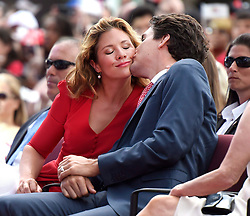 Prime Minister Justin Trudeau gives his wife Sophie Gregoire Trudeau a kiss during the Canada Day noon hour entertainment on Parliament Hill, in Ottawa on Friday, July 1, 2016. Photo by Justin Tan/CP/ABACAPRESS.COM  | 553804_001 Ottawa Canada