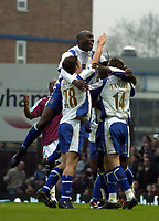 Photo: Olly Greenwood.<br />West Ham United v Portsmouth. The Barclays Premiership. 26/12/2006. Portsmouth's Linvoy Primus celebrates scoring his 2nd goal with his team mates