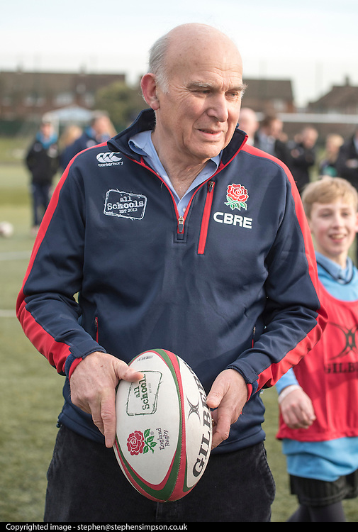 © Licensed to London News Pictures. 02/02/2015. Twickenham, UK The British Deputy Prime Minister, Nick Clegg and the Secretary of State for Business, Innovation and Skills, Vince Cable take part in the All Schools training session at Twickenham Academy, Today 2nd February 2015.<br /> <br /> Deputy Prime Minister Nick Clegg, and the Secretary of State for Business, Innovation and Skills, Vince Cable, visit Twickenham on Monday 2 February in support of the biggest year in history for English rugby . The visit comes just days before England's first Six Nations clash against Wales and ahead of the World Cup, which will support 12,000 jobs and contribute £2.2 billion to the UK economy, as well as creating a lasting legacy for rugby in this country.. Photo credit : Stephen Simpson/LNP