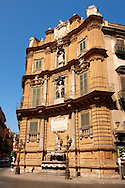 Quatro Canti (Four Corners), Piazza Vigliena. Baroque style buildings by Giuseppe Lasso (1609). The Baroque heart of Palermo, Sicily .<br /> <br /> Visit our SICILY HISTORIC PLACES PHOTO COLLECTIONS for more   photos  to download or buy as prints https://funkystock.photoshelter.com/gallery-collection/2b-Pictures-Images-of-Sicily-Photos-of-Sicilian-Historic-Landmark-Sites/C0000qAkj8TXCzro