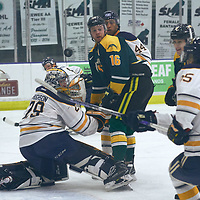 5th year forward, Zach McPhee (16) of the Regina Cougars during the Men's Hockey Home Game on Sat Oct 13 at Co-operators Center. Credit: Arthur Ward/Arthur Images