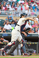 Joe Mauer #7 of the Minnesota Twins makes a warm-up throw to 2nd base during a game against the Chicago White Sox on June 19, 2013 at Target Field in Minneapolis, Minnesota.  The Twins defeated the White Sox 7 to 4.  Photo: Ben Krause
