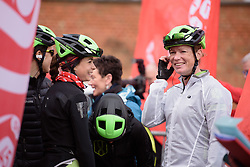 Sheyla Gutierrez and Kirsten Wild have a laugh whilst waiting to sign in at the 127 km Omloop van het Hageland on February 26th 2017, starting and finishing in Tielt Winge, Belgium. (Photo by Sean Robinson/Velofocus)