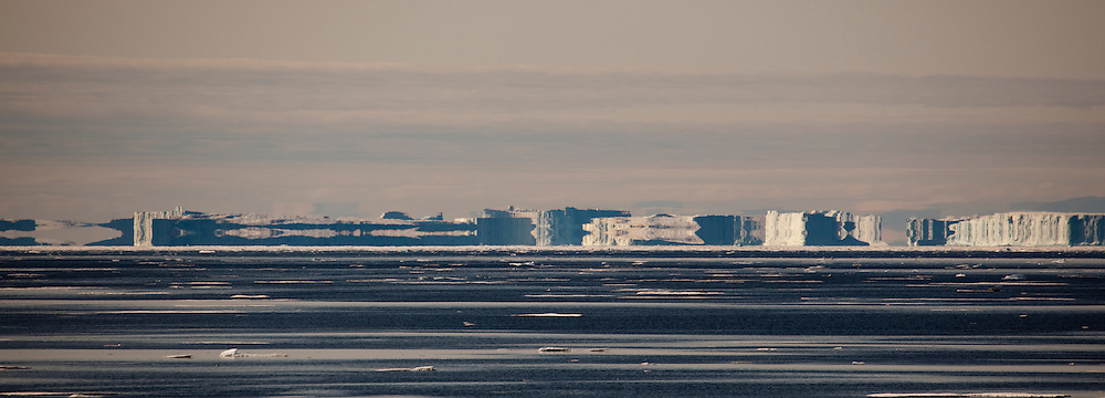 Fata Morgana, or superior mirage off the coast of West Greenland, in Kane Basin.