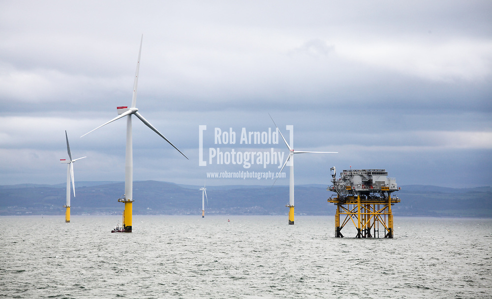 17/03/2014. Gwnt y Mor Wind Farm, North Wales, UK. A view from within the Gwynt y Mor Wind Farm. Photo credit : Rob Arnold