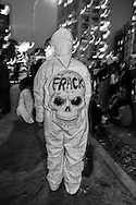 Occupy Wall Street protester in an anti-fracking death costume in the annual greenwich Village Halloween Parade on Oct. 10, 2011 in New York City .