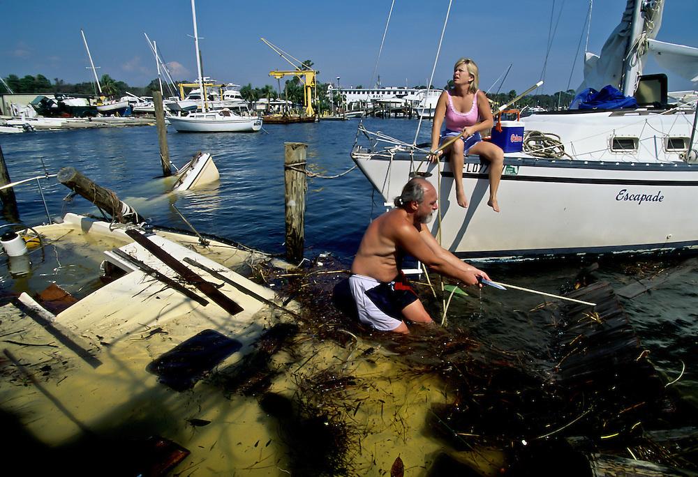 Hurricane destruction along islands and coastlline near Destin, Florida.