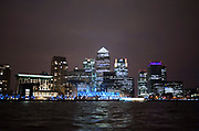 Canary Wharf and Canada Water financial district viewed from across the River Thames. Much of London's banking and finance institutions have their offices here.