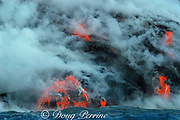 hot lava from Kilauea Volcano empties into the Pacific Ocean through multiple lava tubes, Hawaii Volcanoes National Park, Hawaii Island ( the Big Island ), Hawaii, U.S.A. ( central Pacific Ocean )