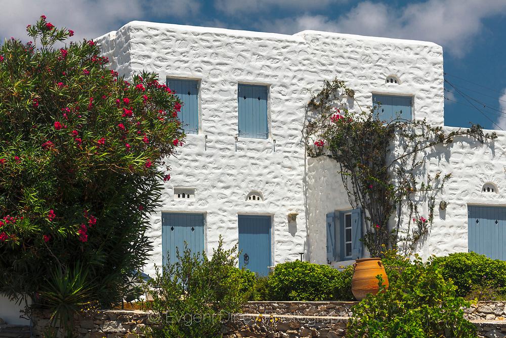 Drios, Paros, Greece - July 2021: Seaside  Shore Of Drios