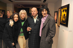 Left to right, LEAH WOOD,  JO WOOD, PAUL KARSLAKE and RONNIE WOOD at an exhibition of artist Paul Karslake's work entitled Ideas & Idols, held at Scream, 34 Bruton Street, London W1 on 21st February 2008.<br /><br />NON EXCLUSIVE - WORLD RIGHTS