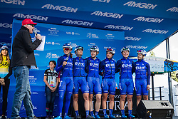 """May 18, 2018 - South Lake Tahoe, California, U.S - Friday, May 18, 2018.Emcee DAVE TOWLE introduces United Healthcare Pro Cycling Team (USA) prior to Stage 2 of the Amgen Tour of California Women's Race empowered with SRAM, which starts and finishes near Heavenly Ski Resort in South Lake Tahoe, California...BIB, NAME, NAT.1, HALL, USA.2, BANKS, GBR.3, HALL, USA.4, HANSON, AUS.5, PE""""UELA, COL.6, THOMAS, USA (Credit Image: © Tracy Barbutes via ZUMA Wire)"""