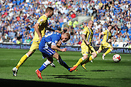 Eoin Doyle of Cardiff city shoots just wide of goal. Skybet football league championship, Cardiff city v Millwall at the Cardiff city stadium in Cardiff, South Wales on Saturday 18th April 2015<br /> pic by Andrew Orchard, Andrew Orchard sports photography.