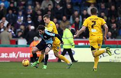 Tom Lockyer of Bristol Rovers puts Max Kretzschmar of Wycombe Wanderers - Mandatory byline: Robbie Stephenson/JMP - 27/02/2016 - FOOTBALL - Adams Park - Wycombe, England - Wycombe Wanderers v Bristol Rovers - Sky Bet League Two