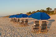 Chairs and umbrellas at the beach on Hilton Head Island, SC