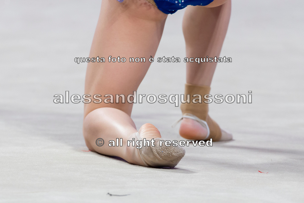Tatyana Volozhanina from Bulgaria performs ball during the Pesaro 2021 World Cup.
