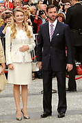 Marriage Civil wedding of Grand Duke Guillaume and Princess Stephanie at Hotel de Ville in Luxembourg.<br /> <br /> On the photo: Grand Duke Guillaume and Princess Stephanie
